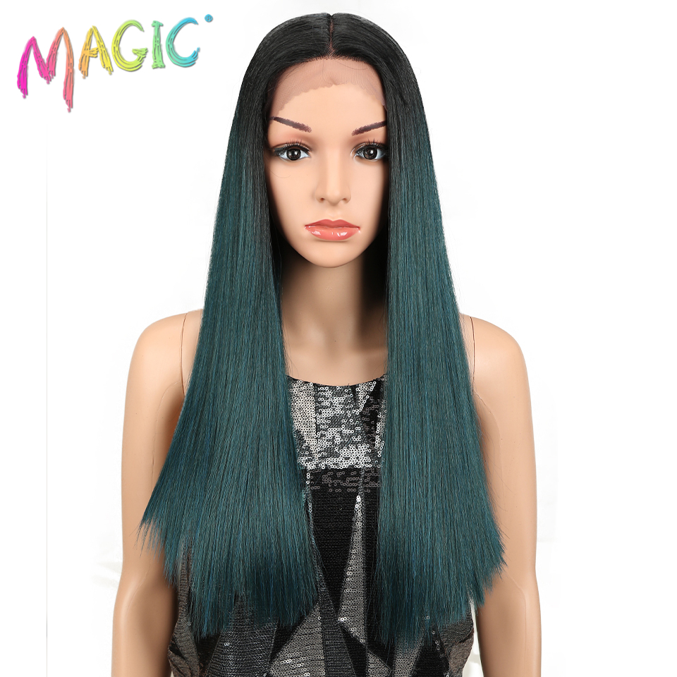 "M Hair Long Lace Front Wigs Synthetic Hair 20""Inch Straight Wigs For Black Women with Middle Part Heat Resistant Fiber Hair"