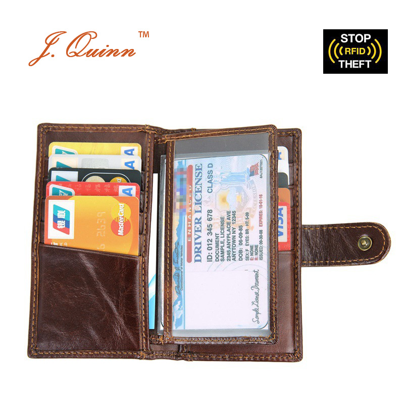 J.Quinn Slim Cow Leather Mens RFID Wallets 14 Slot for Women Blocking Cards Holder Large ID Genuine Bifold Hasp Wallet Purse New lexeb cow leather wallet for men credit cards case rfid blocking short style zipper hasp id holders bifold coin purses black