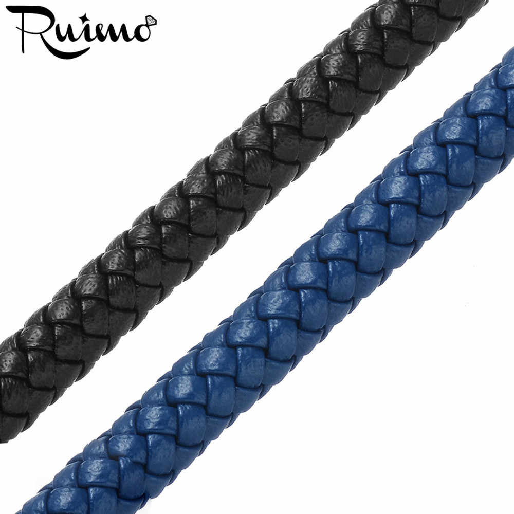 RUIMO 6mm Round Super Fiber Cord Braided Black Blue Leather Rope String For Bracelet Jewelry Making DIY Findings Wholesale 1M