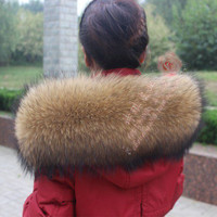 Women Real Raccoon Fur Collar Scarf Shawl Winter Wrap Stole Coat Collar LZ01