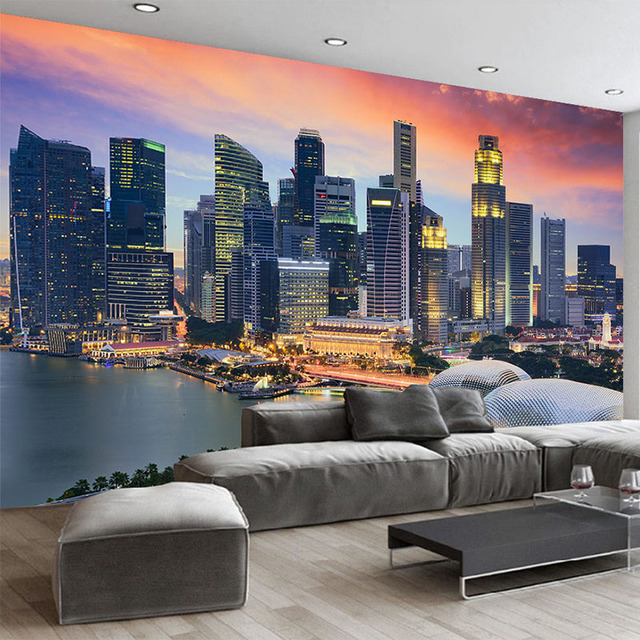 US $13 08 30% OFF|Custom Photo Wallpaper 3D Singapore City Building Night  View Mural Living Room Office Backdrop Wall Decor Modern Creative Fresco-in