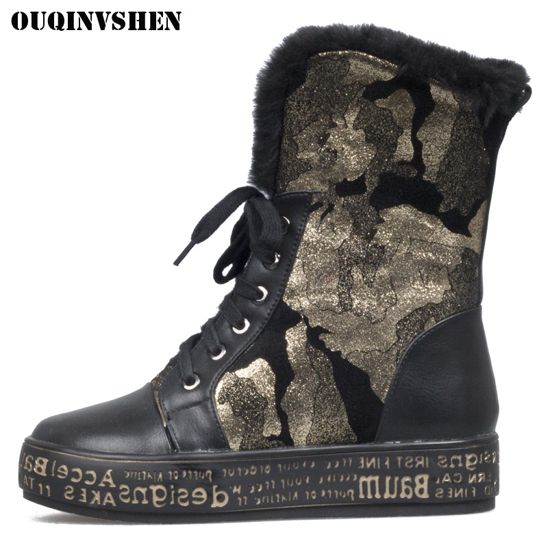 OUQINVSHEN Round Toe Lace Up Women's Snow Boots Winter Wool Plush Ladies Ankle Boots Platform Camouflage print Women Snow Boots