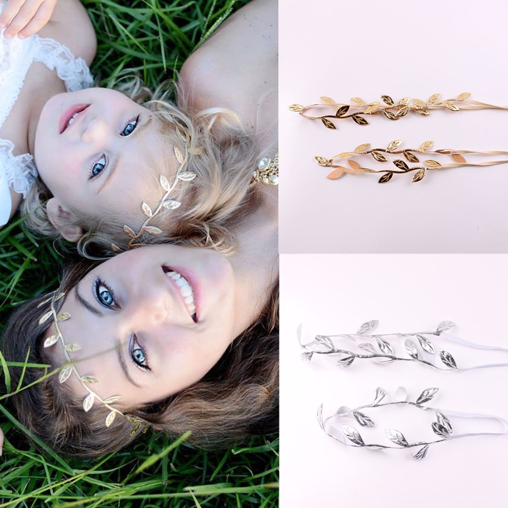 2Pcs/Set Mom Baby Girls Gold Silver Bronzing Leaf Headband Set For Hair accessories Matching Headband Headwrap Gifts2Pcs/Set Mom Baby Girls Gold Silver Bronzing Leaf Headband Set For Hair accessories Matching Headband Headwrap Gifts