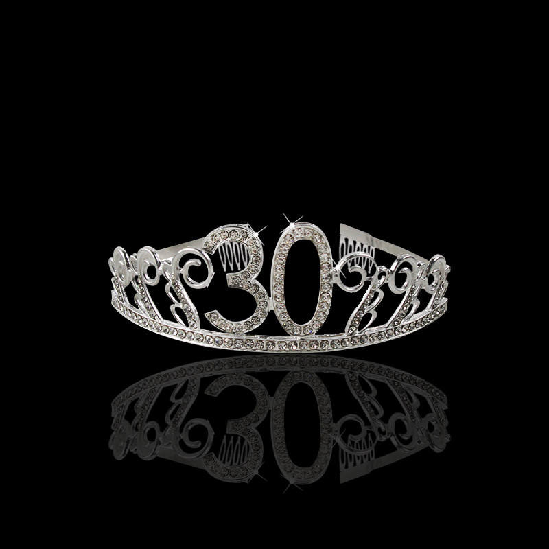 Image 2 - 30 40 50 Birthday Party Decorations Adult Crystal Rhinestone Tiara Princess Crown Hairbands Accessories Happy 30 Year Decoration-in Party DIY Decorations from Home & Garden