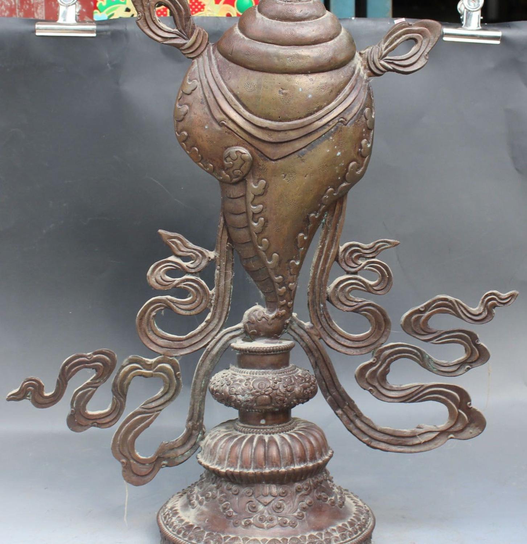 "24"" Old Tibet Tibetan Temple Buddhism Pure Bronze 8 Auspicious Symbol Statue"