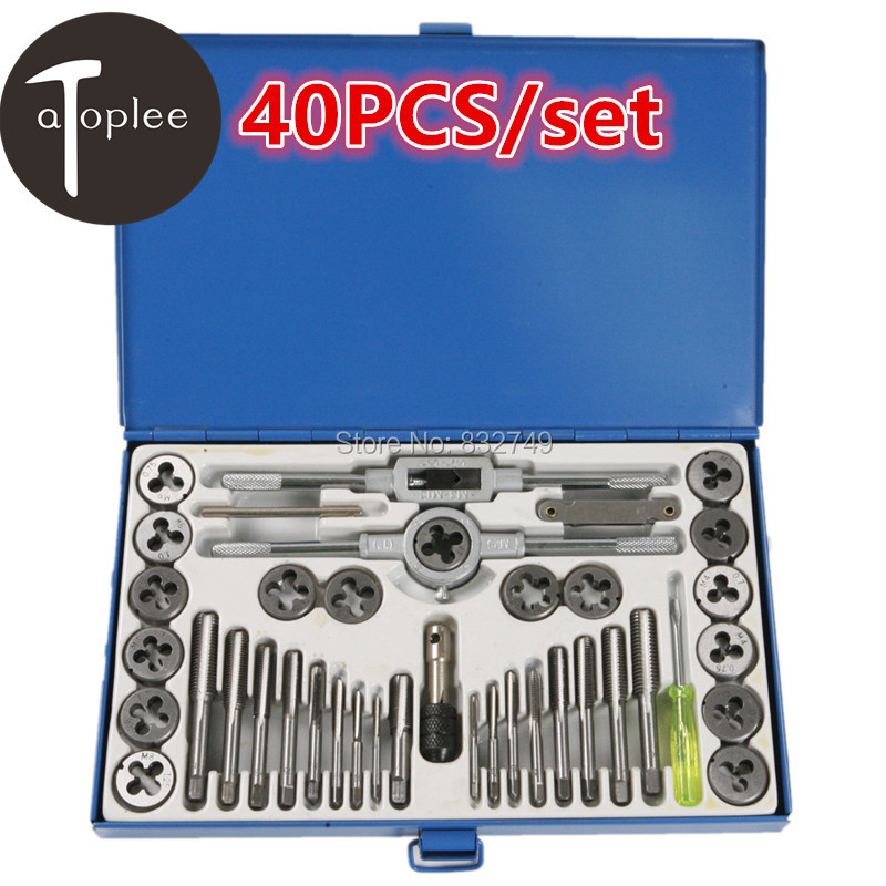40Pcs/Set Screw Thread Metric Plugs Taps and Die Wrench Set Used For Electric Tools For Model Processing Handmade DIY dreld 30pcs metric mini taps dies set m1 m2 5 screw thread plugs taps alloy steel screw taps with tap wrench hand tools set