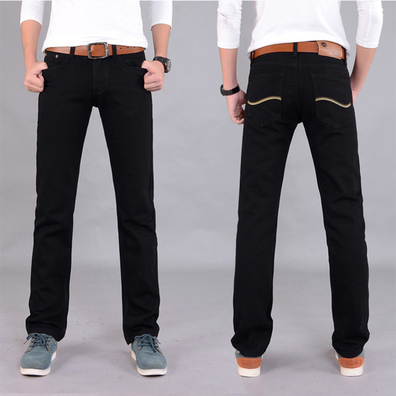 Hot Sale 2017 New Arrival Four Season Men Jeans,Retail & Wholesale Slim Straight Black/Blue Color Brand Cotton Jeans Men SIZE 38
