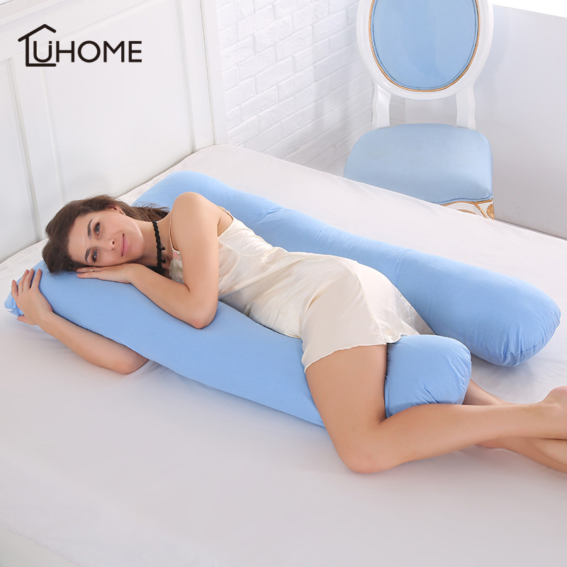 Cotton Sleeping Support Pillow for Pregnant Women Full Body U Shape Cushion Maternity Pillow Side Sleepers Bedding full body u pillow