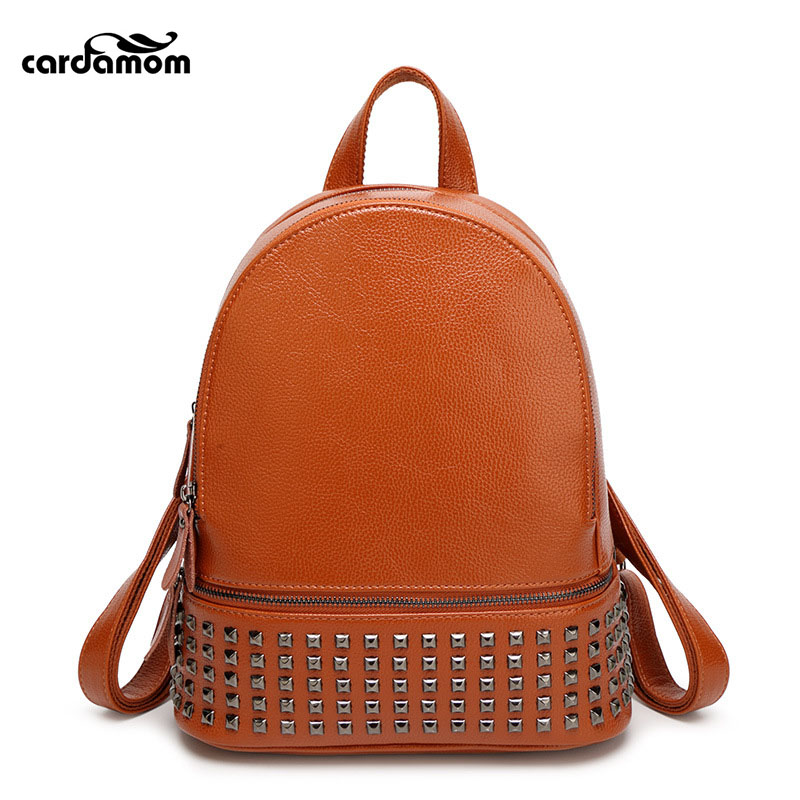 Cardamom Fashion Women Waterproof PU Leather Rivet Backpack Women s Backpacks For Teenage Girls Ladies Bags