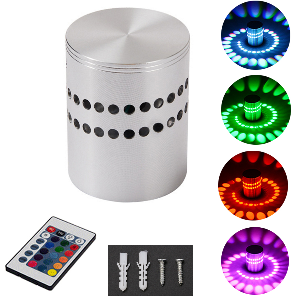 Lights & Lighting Hot Sale Rgb Spiral Hole Led Wall Light Effect Wall Lamp With Remote Controller Colorful Install Mini Light Ktv Home Decoration