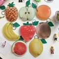 Encantador dos desenhos animados mini coin purse banana lemon apple orange abacaxi morango bonito pequena bolsa adorável frutas bag duplo lados