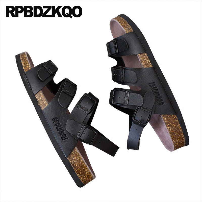 Slippers Cork Gladiator Men Sandals Leather Summer Black Water Japanese Waterproof Size 45 Roman Large Shoes Flat Fashion Slides
