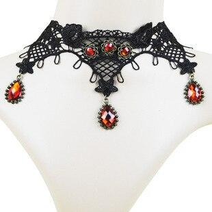 5a999c191 Europeus E Americanos de Comércio de Moda Gothic Red Imitação de Pedras  Preciosas Colar Fêmea Laço Preto Colar de Pingente de Jóias Por Atacado