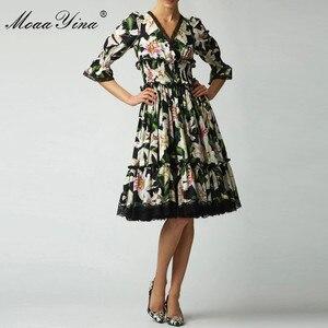 Image 2 - MoaaYina Fashion Designer Runway dress Spring Summer Women Dress V neck lily Floral Print Elegant Cotton Dresses