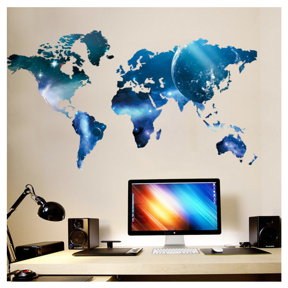 Removable world map wall sticker office poster child room decor pvc removable world map wall sticker office poster child room decor pvc mural gumiabroncs Gallery