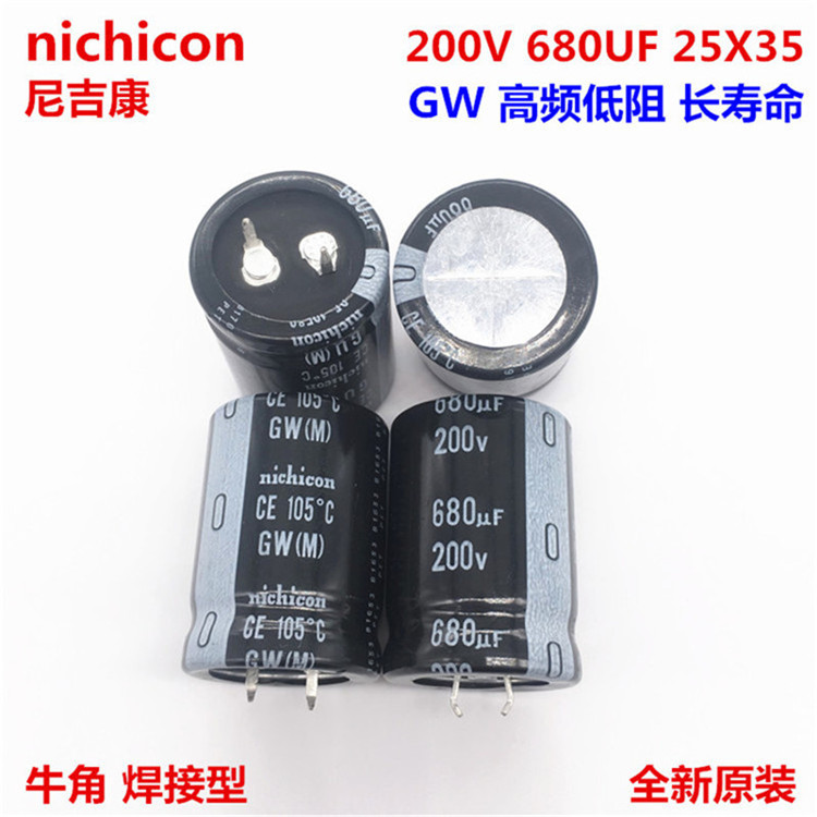 2PCS/10PCS <font><b>680uf</b></font> <font><b>200v</b></font> Nichicon GW 25x35mm 200V680uF Snap-in PSU <font><b>Capacitor</b></font> image