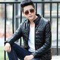 Brand clothing men leather motorcycle vest jacket slim  plus size faux fur coats mens warm wool winter cashmere outerwear