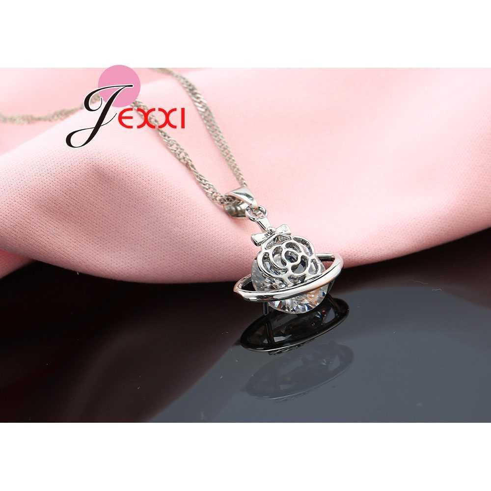 הגעה חדשה 925 סטרלינג כסף אפריקאי CZ קריסטל פרח שרשרת Drop עגילי תכשיטי חתונה רומנטית סט Bijoux אבזרים
