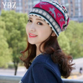 YBZ Vintage Women Snow Beanies 3 Colors Ethnic Hat Spring Women Beanie Autumn Winter Hats For Women Multifunction Scarf Caps