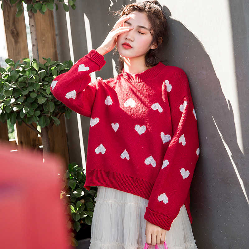 53dd2f2e587 ... Female korean kawaii cute Loose round neck color love sweater women's  sweaters Japanese harajuku Ulzzang clothing