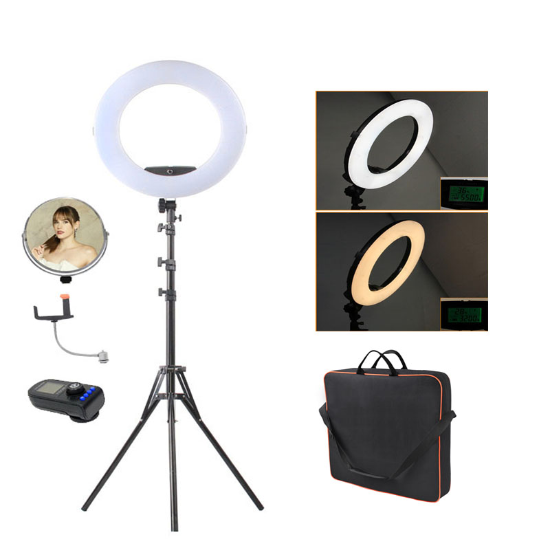 Fosoto FE-480II Photographic Lighting 96W 480Led Bi-Color Dimmable Camera Phone Photography Ring Light Lamp&bag Mirror&Tripod