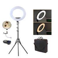 Fosoto FE-480II iluminación fotográfica 96W 480Led bicolor regulable Cámara teléfono fotografía anillo lámpara de luz y bolso de espejo y trípode