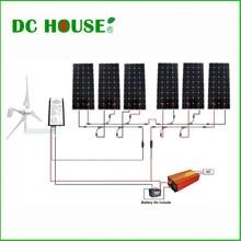 1.3KW Wind Solar Hybrid kit: 400W Wind Turbine Generator & 6*160W Mono Solar Panel & 1500W Inverter