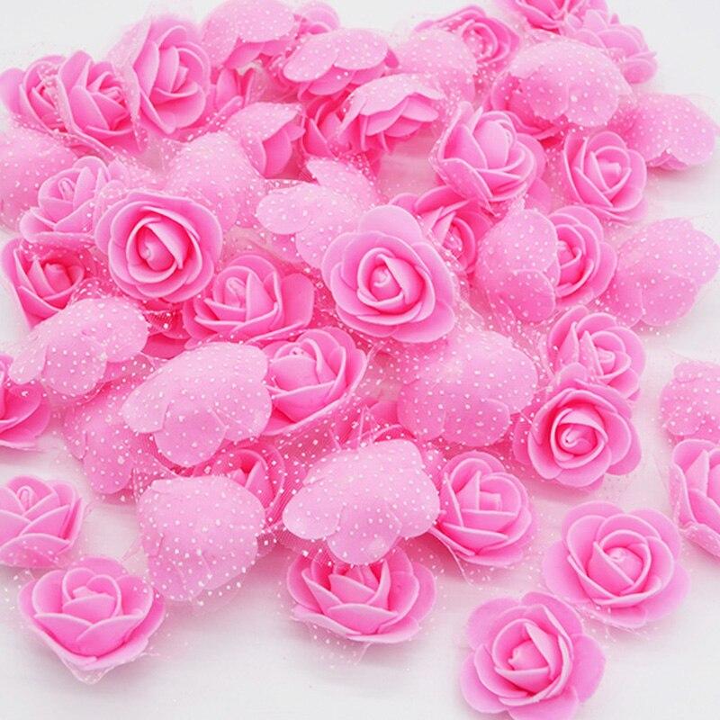 50 шт. см 3,5 см мини ПЭ пена роза искусственный шелк цветок головы ручной работы DIY помпон венки Свадебные украшения вечерние вечеринок