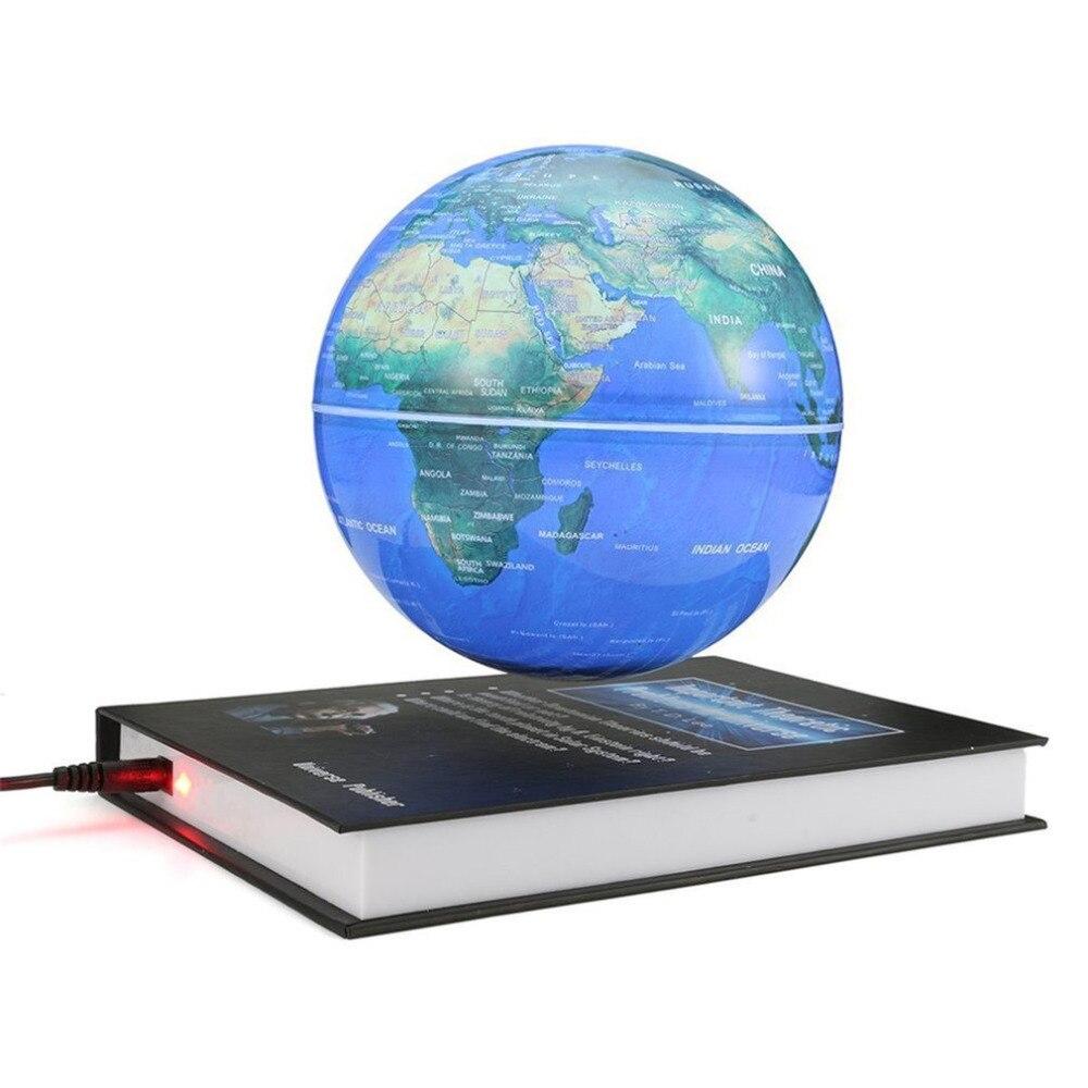 Innovantes 3 pouce Livre Magnétique Lévitation Flottant Anti Gravité Globe Carte Du Monde Magnétique Tournant Globe Décoloration