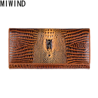 2017 New Genuine Leather Women Wallets High Quality Clutch Cow Leather Luxury Brand Card Holder phone Perse Crocodile T1139