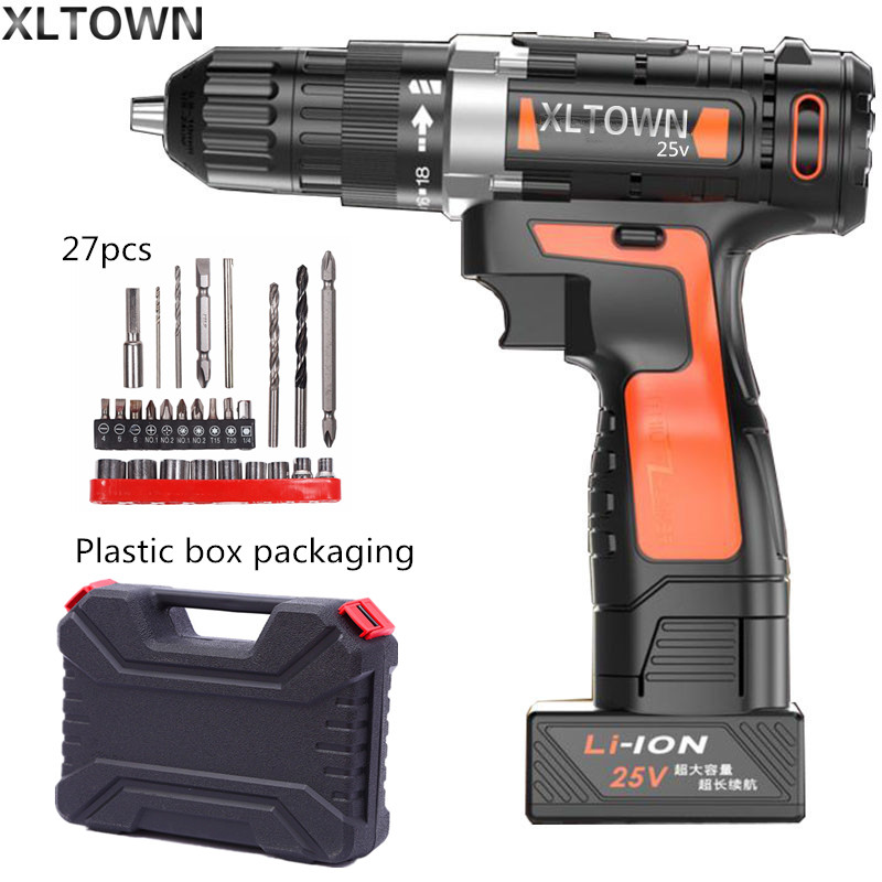 Xltown 25v two-speed lithium battery electric drill with 27pcs home Cordless electric screwdrivers high quality power tools high quality power tool 25v cordless