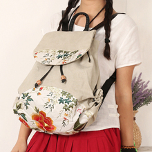 Ethnic Chinese Embroidered Backpack for Teenage Girl Casual Back Bag Schoolbag Lady String Backpacks Female Rucksack