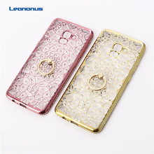 Plating Diamond Bling Case For Samsung Galaxy A8 A7 A6 2018 Plus Metal Ring Stand Cover for