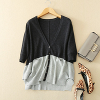 100% Cashmere Sweater Women Cardigans Patchwork Design V Neck Batwing Sleeves Ladies Casual Loose Knitwear 2018 New Fashion