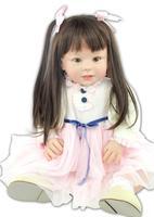 28 дюймов Новый Уход за кожей лица Колыбели малыша с каштановыми волосами Куклы силикона возрождается младенцев платье куклы для девочек ро