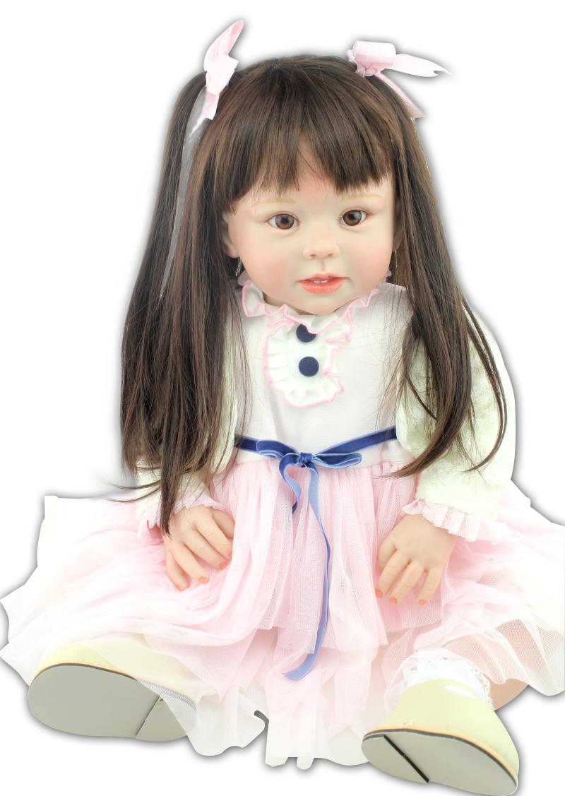28 Inch New Face Cradle Toddler With Brown Hair Dolls Silicone Reborn Babies Dress Up Doll Toy
