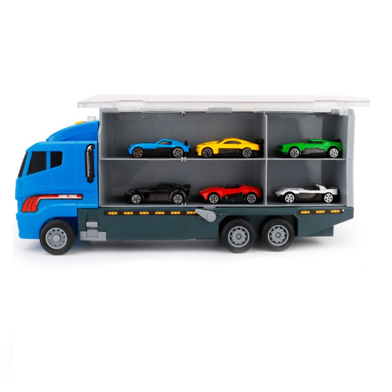 Kids Alloy Die-cast Car Model Cargo Truck Model Vehicle Toy Vehicle 1:50 Gift with 6 Cars