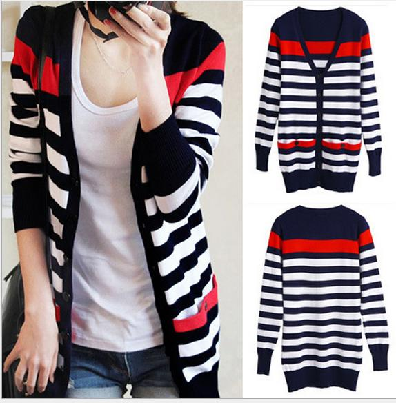 Spring and Autumn Slim   basic     jacket   was thin sweater cardigan long paragraph striped sweater coat female air - conditioning shir