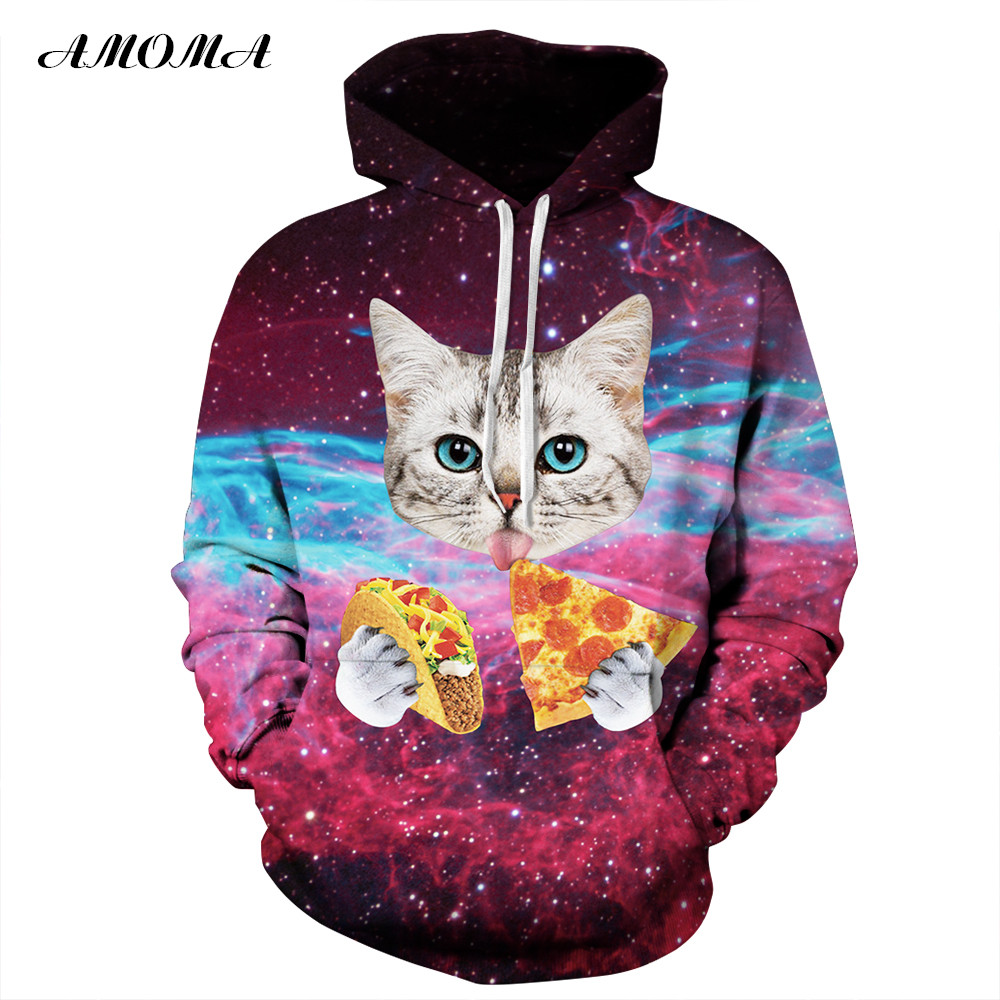 Men Hoodie Pizza Cats 3D Graphic Full Print Casual Unisex Hooded Sweatshirt Tops