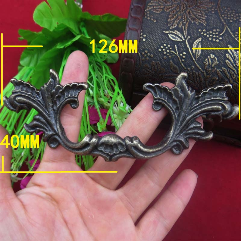 Bronze Vintage Furniture Leaf Knobs and Handles Door Zinc Alloy Handle Cupboard Drawer Kitchen Pull Knob Leaves,126*40mm,4PCs 10 inch long cabinet handles and knobs drawer pull for furniture and cupboard simple wardrobe handle zinc alloy door handle