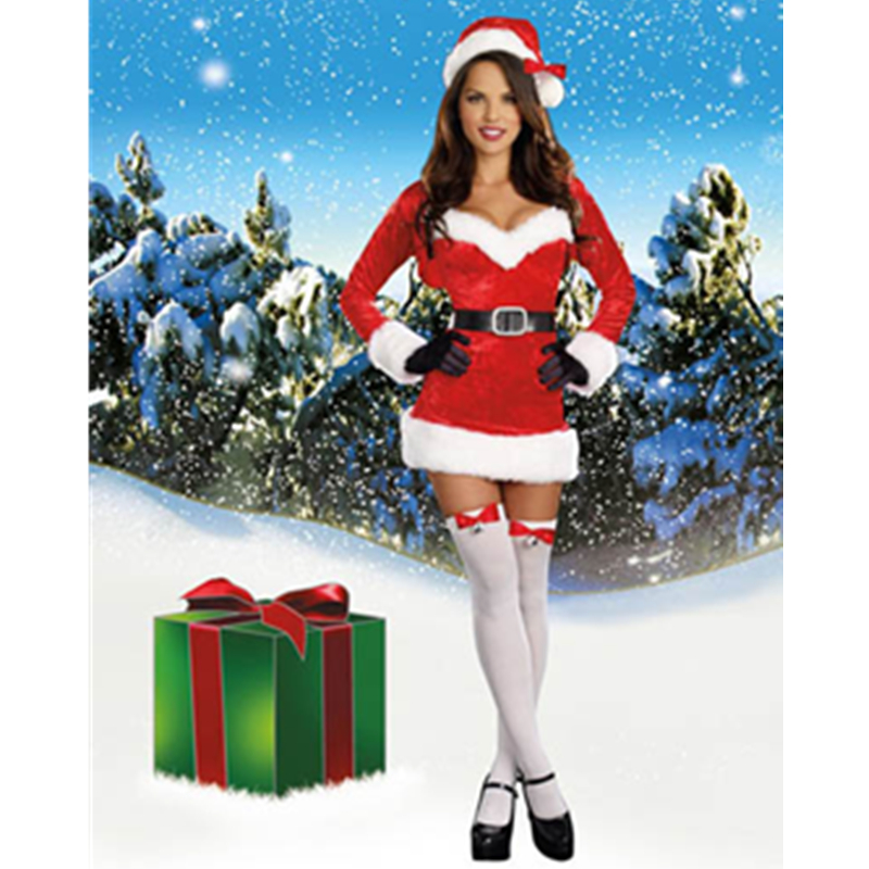 Hottest Club Girl Christmas Santa Costumes Red Stretch Crush Velvet Dress Long Sleeve Shrug Santa Claus Cosplay Costume L70916