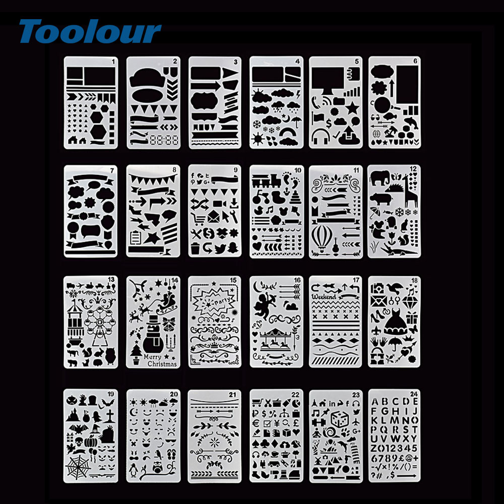 Toolour 24pcs/lot DIY Craft Layering Stencils For Walls Painting Scrapbooking Stamp Photo Album Decor Embossing Paper Cards