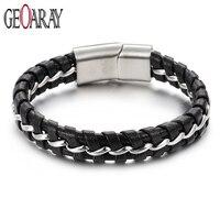 Geoaray Black Weave Leather Bracelet for Men Male Jewelry Stainless Steel Link Chain Bracelets Magnetic Closure