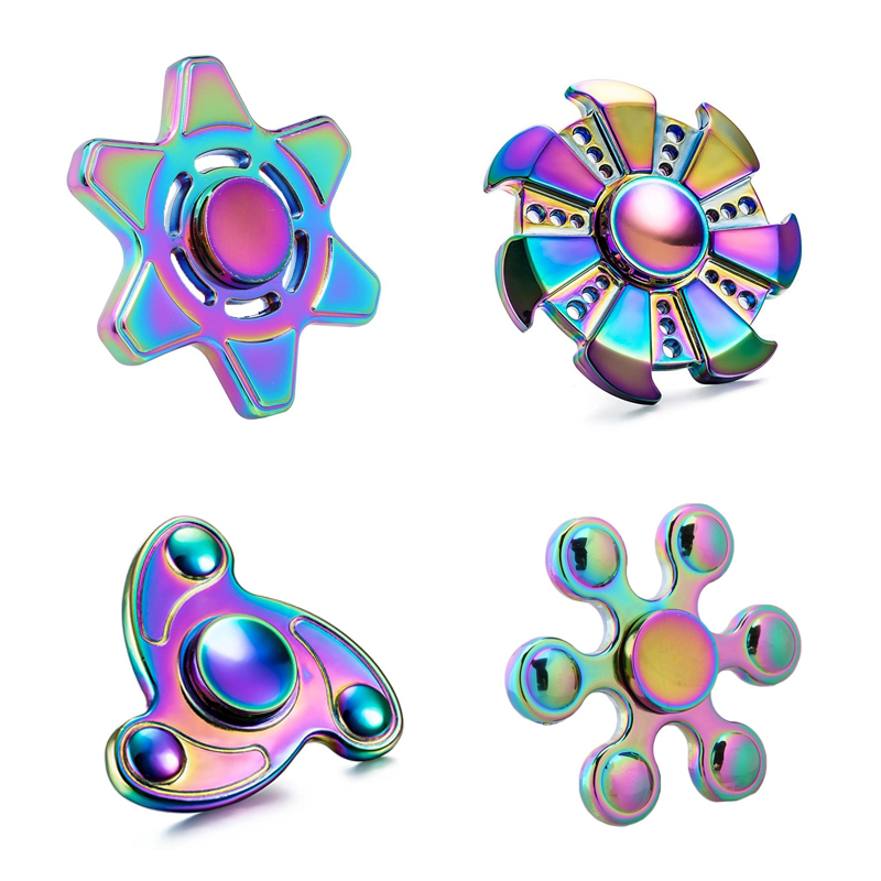 EDC hand spinner Toy Electroplating color aluminum Material Professional Finger gyro For Autism Rotation