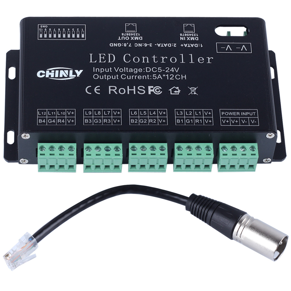 DC5V-24V 12 Channels DMX 512 RGB LED Strip Controller DMX Decoder Dimmer Driver Use for LED Strip Module 24ch 24channel easy dmx512 dmx decoder led dimmer controller dc5v 24v each channel max 3a 8 groups rgb controller iron case
