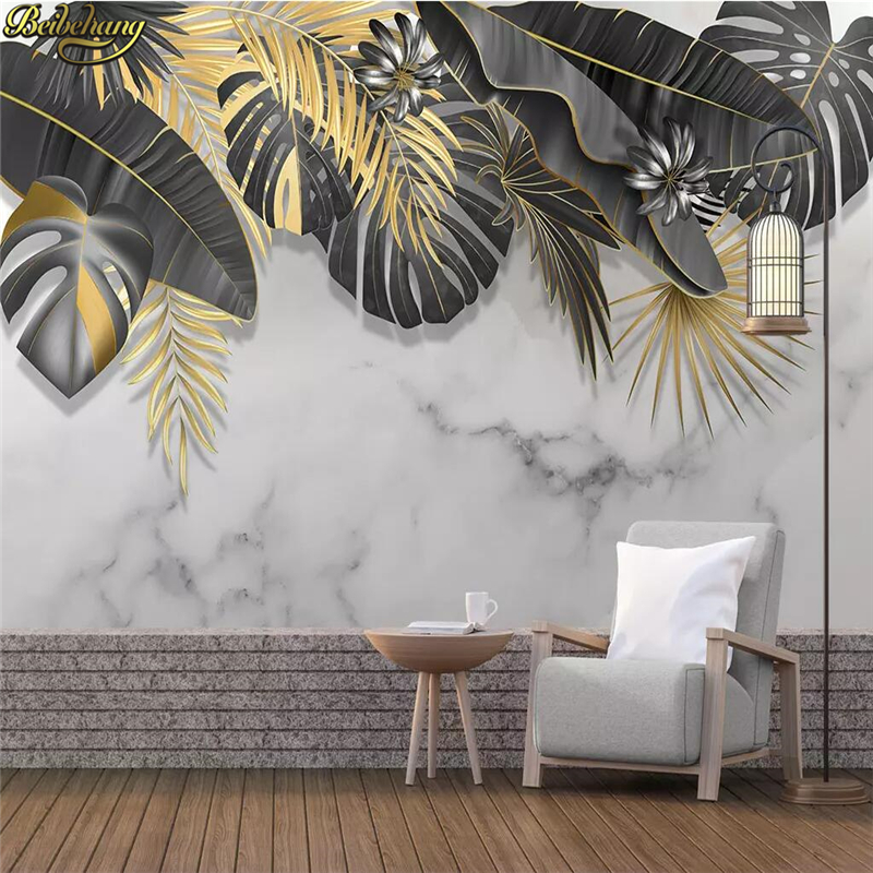 Beibehang Custom Nordic Tropical Plant Leaves White Marbled Photo Wallpaper For Living Room Background 3D Mural Wall Paper Rolls