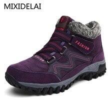 MIXIDELAI/Новинка года; женские зимние ботинки; зимние теплые замшевые ботинки на толстой платформе; водонепроницаемые ботильоны; кроссовки; Размеры 35-40