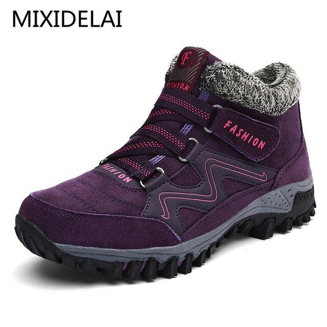 MIXIDELAI 2019 Neue Frauen Schnee Stiefel Winter Warm Wildleder Stiefel Dicken Boden Plattform Wasserdichte Stiefeletten Sneaker größe 35- 40