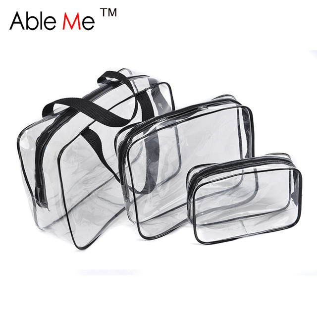 Waterproof And Dust-Proof Cosmetic Bag For Women And Man Toilet Wash And Make Up 3 Piece A Set PVC Cosmetic Case Bag
