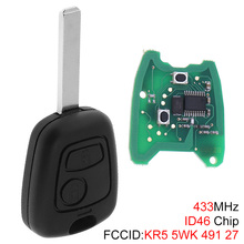 433MHz 2 Buttons Car Remote Key Fob Replacement with ID46 Chip and Battery for Citroen C1 C2 C3 C4 Xsara Picasso 2000-2009 цены